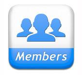 Medlemmar-knappen — Stockfoto