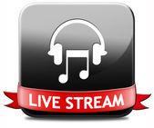Botón de transmisión en vivo de música — Foto de Stock
