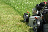 Silver lawn mower. — Stock Photo