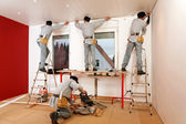 Crown Molding Installation. — Stock Photo