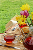 Ontbijt in de tuin. — Stockfoto