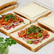 Sandwiches preparation. — Stock Photo