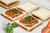 Sandwiches preparation. — Stock Photo