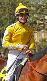 Thoroughbred Jockey Flavien Prat — Stock Photo