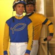 Stock Photo: Thoroughbred Jockeys Alberto Delgado and Saul Arias