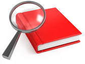 Classic magnifier and red book on white — Foto de Stock