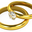 3d wedding gold rings on white background — Stok fotoğraf