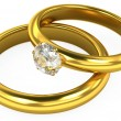 3d wedding gold rings on white background — Стоковая фотография