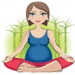 Pregnant woman in lotus position — Stock Vector