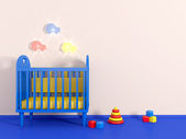 Boys room in blue color and toy — Stock Photo