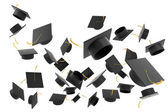 Graduation hat on white background — Stok fotoğraf