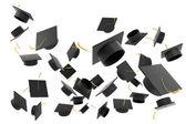 白い背景の上卒業帽子 — ストック写真