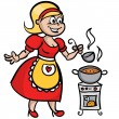 Housewife cooking soup — Stock Vector