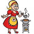 Housewife cooking soup — Stock Vector #26346973