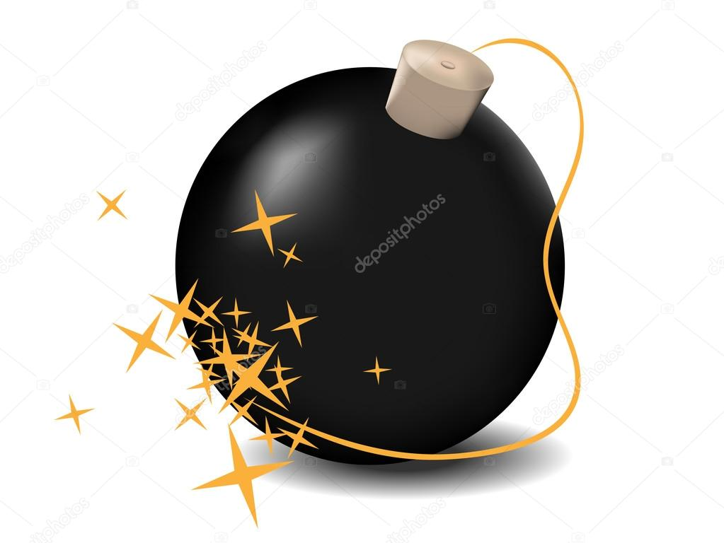 Vector illustration black bomb isolated on the white background — Stock Vector #13296195