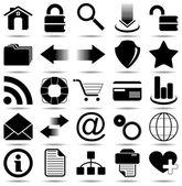 Svart web ikoner — Stockvektor