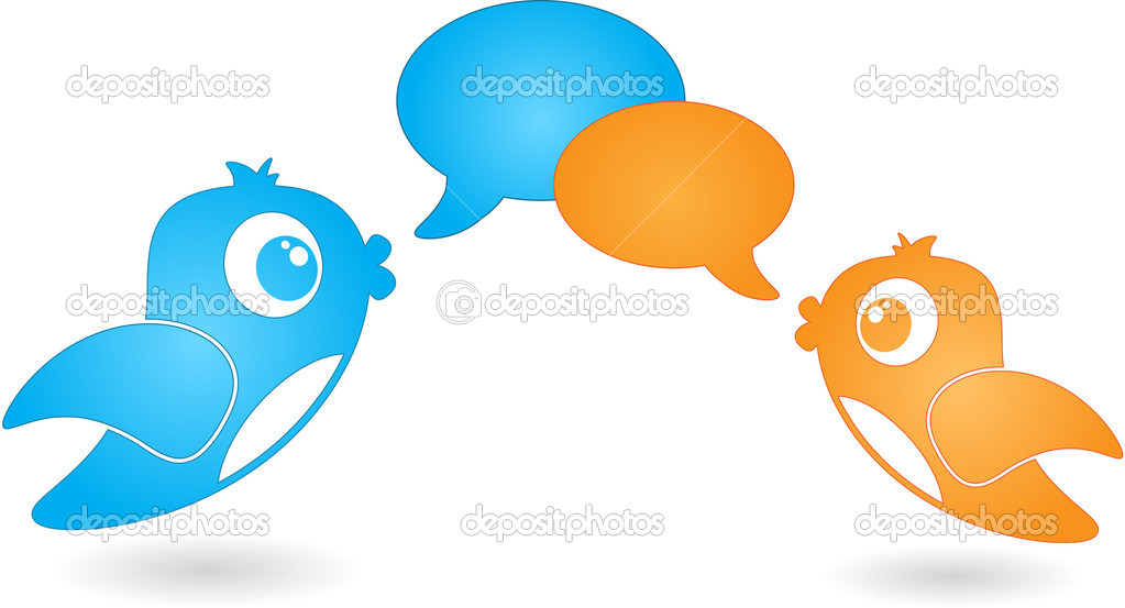 Two birds with speech bubbles different colors. — Stock Vector #12865633
