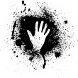 Ink blots and hand — Stock Vector