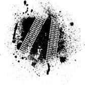 Tinte flecken und reifen track — Stockvektor