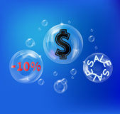 Bubbles with money signs — Stock Vector