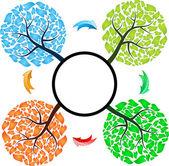 Seasons tree with arrows — Stock Vector