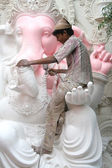 Making of Ganesh Idol for Ganesh chathurthi — Stock Photo