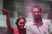 Indian hindu family celebrate Holi fesitval — Foto de Stock