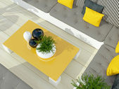 Outdoor patio seating area. — Stock Photo