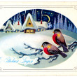 Old Christmas postcard — Stock Photo