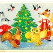 Soviet Christmas postcard — Stock Photo