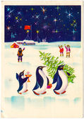 Soviet New Year postcard — Stock Photo