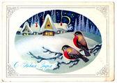 Old Christmas postcard — Stock Photo