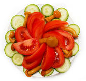 A salad of tomatoes, mushrooms and cucumbers — Stock Photo