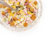 Salad of corn and sausage — Stock Photo
