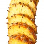 Sliced pineapple on white background — Stock Photo