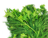 Dill and parsley isolated on a white background — Stock Photo