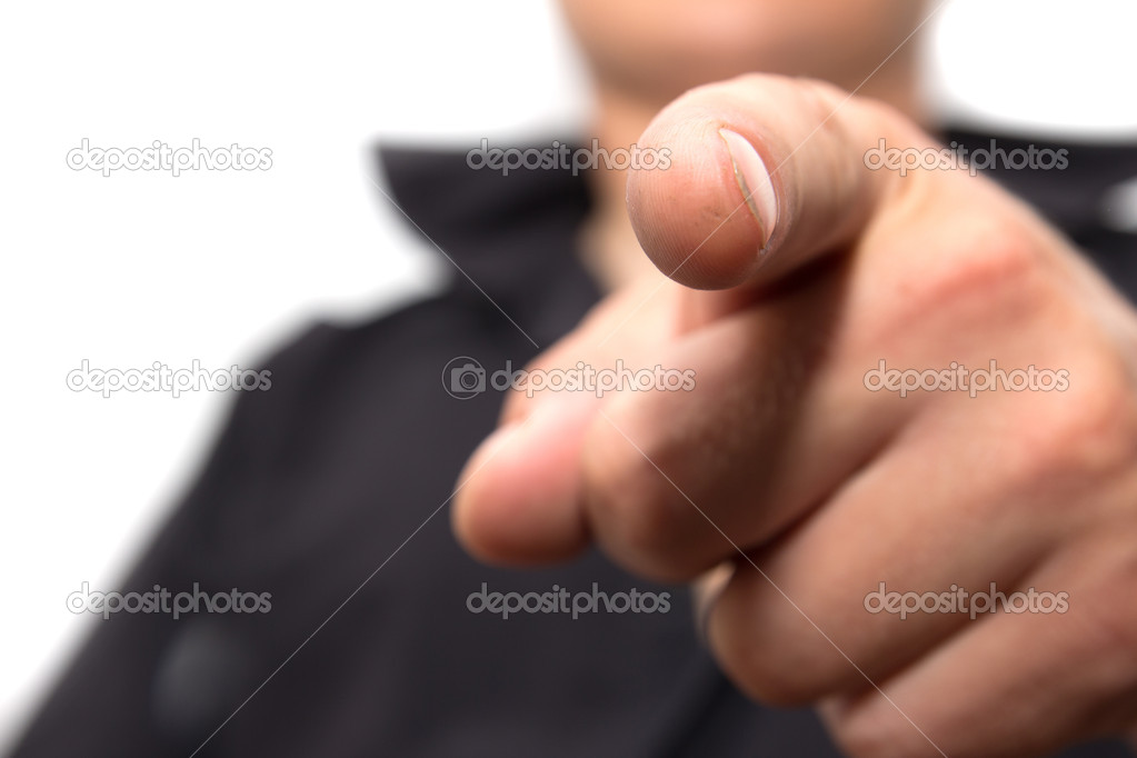 Man shows his finger on a white background — Stock Photo #15836469