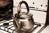 Kettle on the gas stove — Foto de Stock