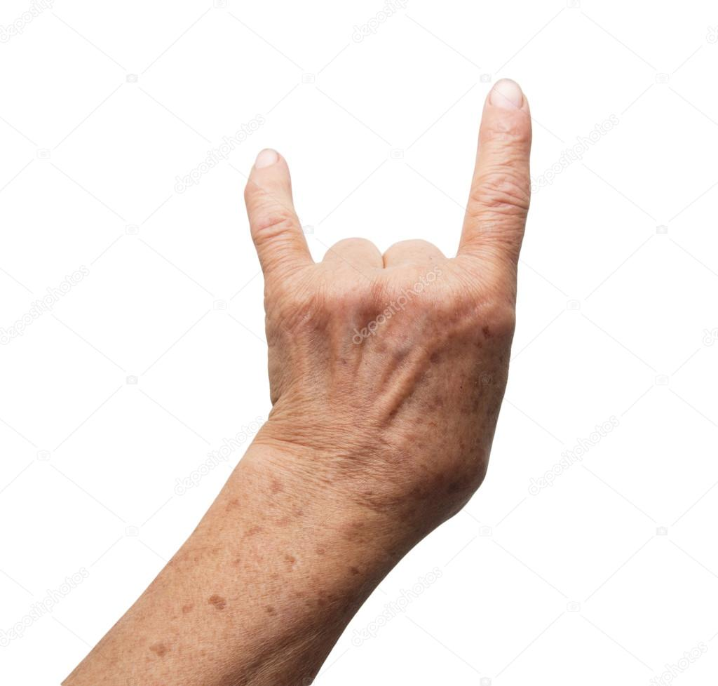 Grandmother's hand on a white background — Stock Photo #15858919