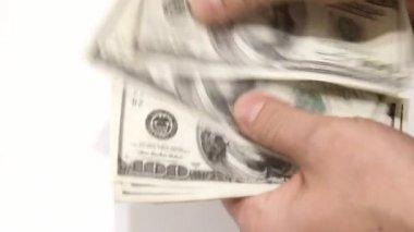 Counting hundred dollar bills — Stock Video