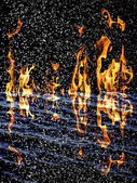 Snow on the fire background with reflection on water — Stock Photo