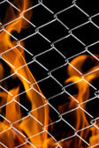 Fire in a metal grid — Stock Photo