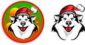 Huskies - Santa Claus — Stock Vector