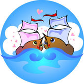Love boats — Stock Vector