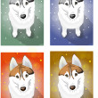 Stock Vector: Naive Huskies