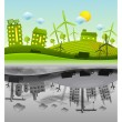 Ecology vs pollution background — Stock Vector