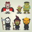 Scary halloween characters - Stock Vector