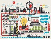 工厂信息图形 — 图库矢量图片