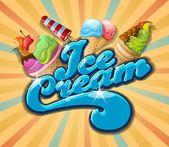 Délicieuse crème glacée — Vecteur