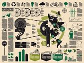 Bicicleta, ecología — Vector de stock